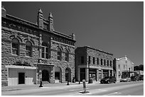 City Hall on main street, Hot Springs. Black Hills, South Dakota, USA (black and white)