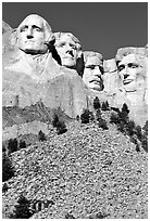 Faces of Four US Presidents carved in stone, Mt Rushmore National Memorial. South Dakota, USA ( black and white)