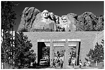 Entrance of Alley of the Flags,  Mount Rushmore National Memorial. South Dakota, USA (black and white)