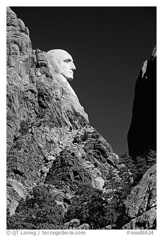 George Washington profile, Mount Rushmore National Memorial. South Dakota, USA (black and white)
