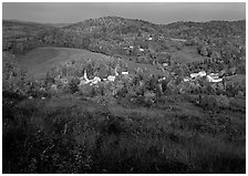 Village of East Corinth surrounded by fall colors, early morning. Vermont, New England, USA (black and white)