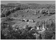 Church and farm in fall, East Corinth. Vermont, New England, USA ( black and white)