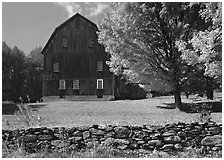 Lee Farm on Ridge Road. Vermont, New England, USA ( black and white)