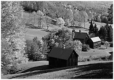 Sleepy Hollow Farm near Woodstock. Vermont, New England, USA (black and white)