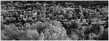 Vermont small town with trees in autumn colors. Vermont, New England, USA (Panoramic black and white)