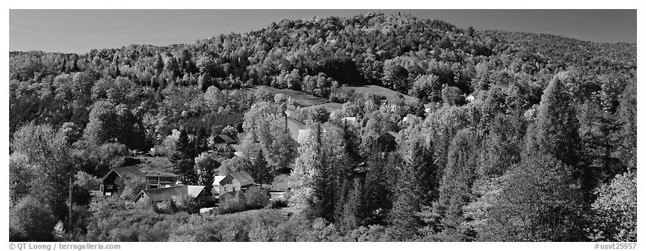 Rural autumn landscape, East Topsham. Vermont, New England, USA (black and white)