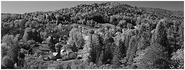 Rural autumn landscape, East Topsham. Vermont, New England, USA (Panoramic black and white)