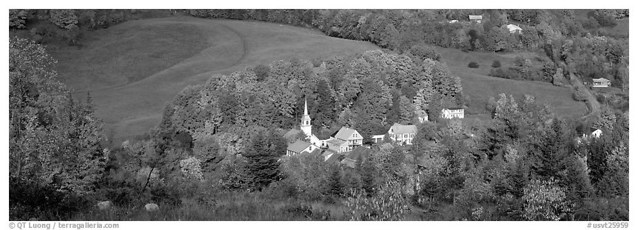 Vermont Village and hill in autumn, East Corithn. Vermont, New England, USA (black and white)