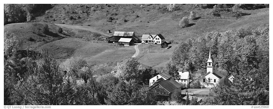 Rural landscape with village and fall colors, East Corithn. Vermont, New England, USA (black and white)