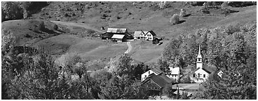 Rural landscape with village and fall colors, East Corithn. Vermont, New England, USA (Panoramic black and white)