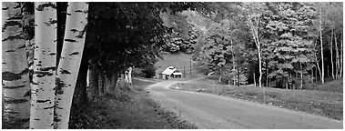 Pastoral landscape in autumn with road. Vermont, New England, USA (Panoramic black and white)