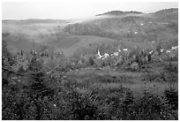 East Corinth village in fall with morning fog. Vermont, New England, USA (black and white)
