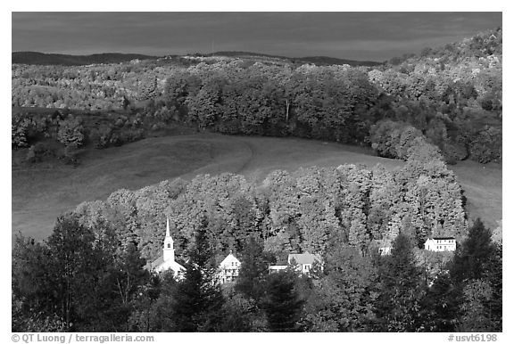 Church and houses in fall, East Corinth. Vermont, New England, USA (black and white)