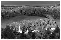 Church and houses in fall, East Corinth. Vermont, New England, USA ( black and white)
