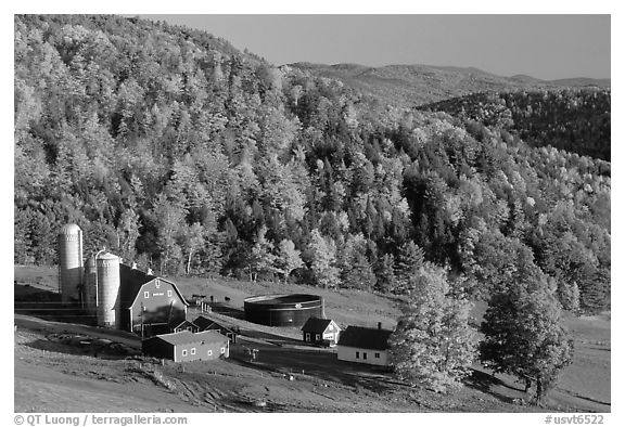 Farm surrounded by hills in fall foliage. Vermont, New England, USA