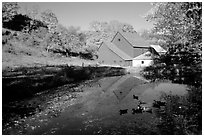 Pond and Sherbourne Farm in Hewettville. Vermont, New England, USA (black and white)