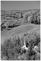 Church of East Corinth among trees in autumn color. Vermont, New England, USA (black and white)