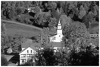 Red roofs in East Topsham village. Vermont, New England, USA ( black and white)