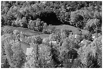 East Topsham village with autumn foliage. Vermont, New England, USA ( black and white)