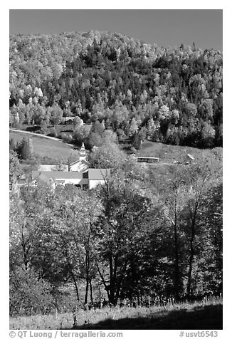 East Topsham village with fall foliage. Vermont, New England, USA (black and white)