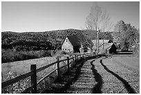 Fence and barn. Vermont, New England, USA (black and white)