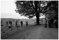 Photographers at Jenne Farm. Vermont, New England, USA (black and white)