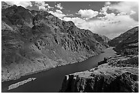 Snake River winding through deep canyon. Hells Canyon National Recreation Area, Idaho and Oregon, USA ( black and white)