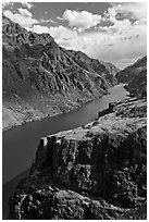 Cliffs and canyon. Hells Canyon National Recreation Area, Idaho and Oregon, USA (black and white)
