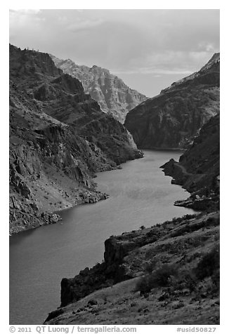 Deepest river-cut canyon in the United States. Hells Canyon National Recreation Area, Idaho and Oregon, USA (black and white)