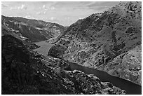 Snake River winding through Hells Canyon. Hells Canyon National Recreation Area, Idaho and Oregon, USA ( black and white)