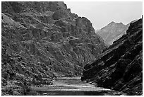 Basalt cliffs. Hells Canyon National Recreation Area, Idaho and Oregon, USA ( black and white)