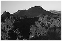 Lava and cinder cones, sunrise, Craters of the Moon National Monument. Idaho, USA ( black and white)