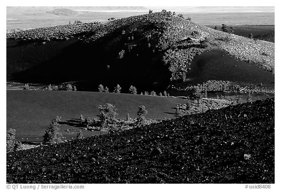 Slopes covered with hardened lava and cinder, Craters of the Moon National Monument. Idaho, USA (black and white)