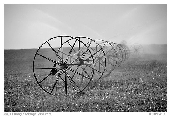 Irrigation wheels spraying water. Idaho, USA