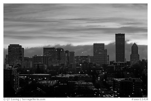 Downtown skyline with colorful sky at sunrise. Portland, Oregon, USA (black and white)