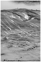 Painted hills in winter. John Day Fossils Bed National Monument, Oregon, USA (black and white)