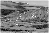 Painted hills at dusk in winter. John Day Fossils Bed National Monument, Oregon, USA ( black and white)