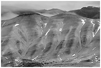 Painted hills, winter dusk. John Day Fossils Bed National Monument, Oregon, USA ( black and white)