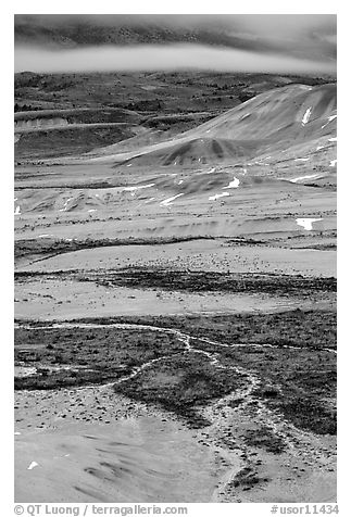 Blue light on Painted hills at dusk. John Day Fossils Bed National Monument, Oregon, USA (black and white)
