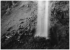 Mossy basin and waterfall base, Watson Falls. USA ( black and white)