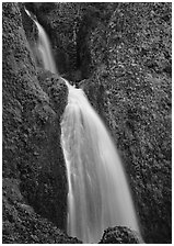 Waterfall, Columbia River Gorge. Columbia River Gorge, Oregon, USA ( black and white)