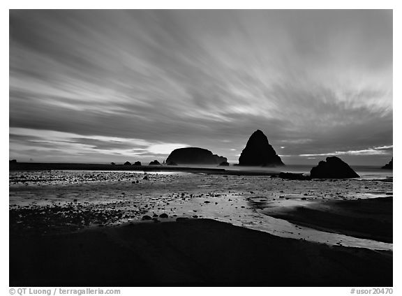 Seastacks and clouds at sunset. Oregon, USA (black and white)