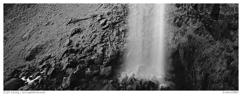 Waterfall and mossy cliffs. Oregon, USA (black and white)