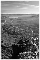 East Lake and big obsidian flow from Paulina Peak. Newberry Volcanic National Monument, Oregon, USA ( black and white)