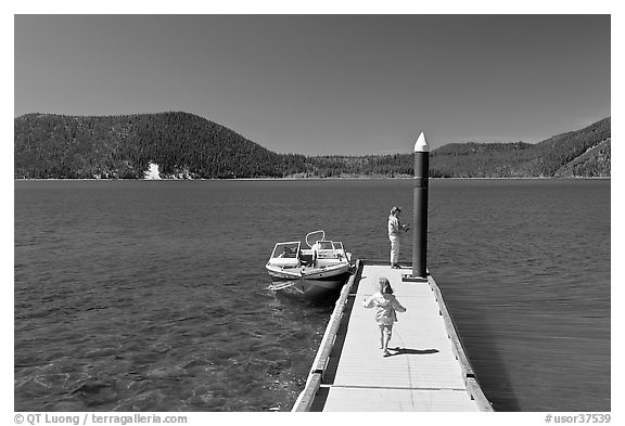 Deck with boat, East Lake. Newberry Volcanic National Monument, Oregon, USA (black and white)
