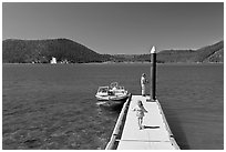 Deck with boat, East Lake. Newberry Volcanic National Monument, Oregon, USA ( black and white)