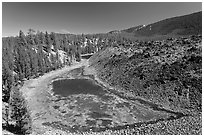Pond at the edge of lava flow. Newberry Volcanic National Monument, Oregon, USA ( black and white)