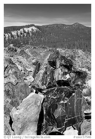 Obsidian and hills. Newberry Volcanic National Monument, Oregon, USA (black and white)