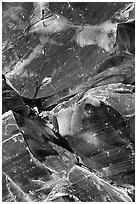 Obsidian glass close-up. Newberry Volcanic National Monument, Oregon, USA ( black and white)