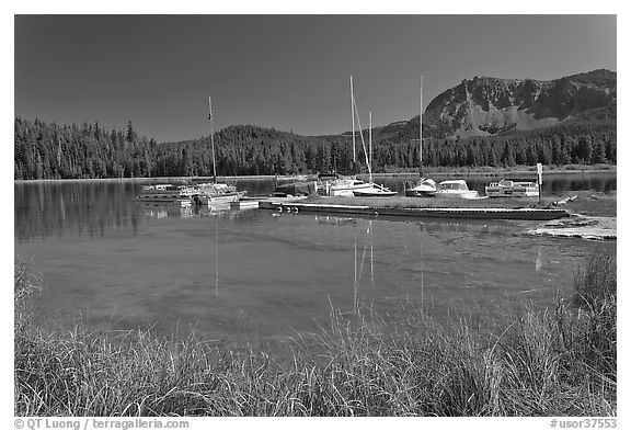 Marina, Paulina Lake. Newberry Volcanic National Monument, Oregon, USA (black and white)